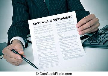 último, vontade, Testamento