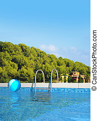 swimming pool and mediterranean landscape - fictitious...