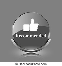 Recommended icon. Shiny glossy internet button on grey...