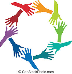 Circle of shaking hands image logo