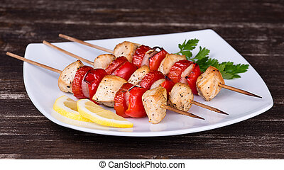 Chicken and vegetable kabobs - Tasty grilled meat and...