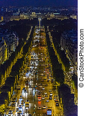 Champs-Elysees at night - Champs-Elysees and Concorde Place...
