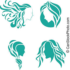 Hair fashion icon symbol of female - Vector Illustration of...
