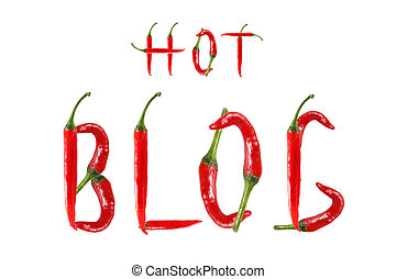 HOT BLOG text composed of chili peppers. Isolated on white...