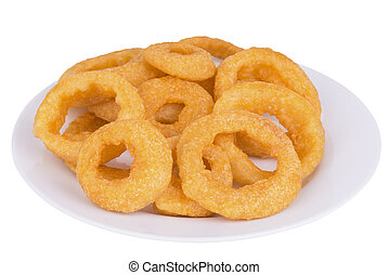 Fried onion rings - Close up on fried onion rings , isolated...