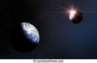 Sunrise - Sunrising over the moon brining light on earth