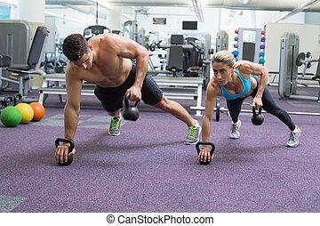 bodybuilding, homem, mulher, levantamento, kettlebells,...