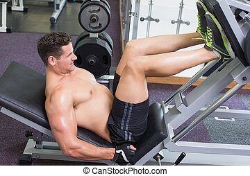 Shirtless bodybuilder working on his legs with weight...