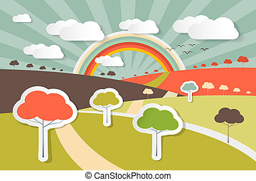 Nature Landscape Rural Scene Illustration with Paper Trees