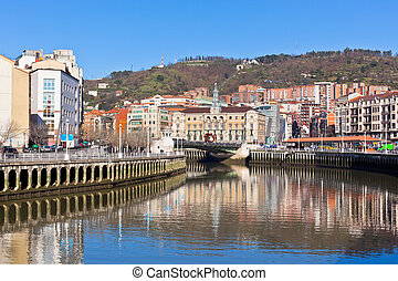 Bilbao, Basque Country, Spain cityscape at bright sunny day
