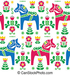 Swedish folk art Dala pattern - Traditional Scandinavian...