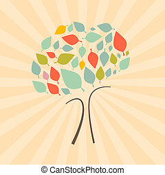 Abstract Vector Retro Tree Illustration