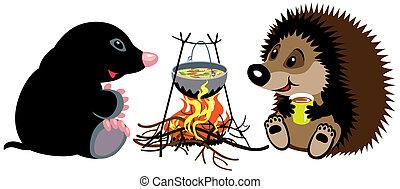 mole and hedgehog near campfire - cartoon mole and hedgehog...