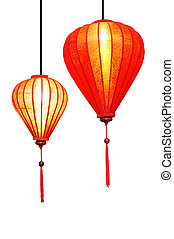 Red Lanterns - A pair of red cloth lanterns with beading and...