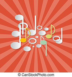Abstract Music Retro Red Background with Notes Made from Paper