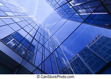 Generic Corporate Building - Vivid blue and turquoise Glass...