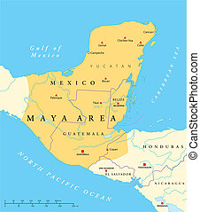 Maya High Culture Area Map - Classic and post-classic Maya...