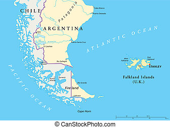 Falkland Islands Political Map - Political map of the...