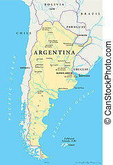 Argentina Political Map - Political map of Argentina with...