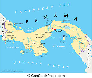 Panama Political Map - Political map of Panama with capital,...