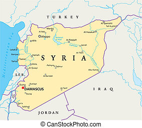 Syria Political Map - Political map of Syria with capital...