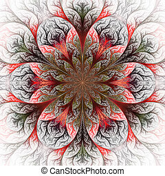Beautiful fractal flower in red, green and gray Computer...