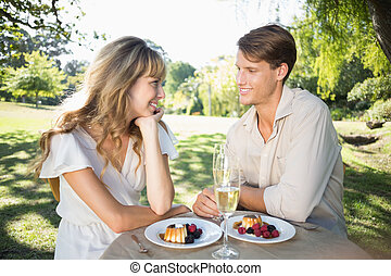 Cute couple having champagne and desert in the park
