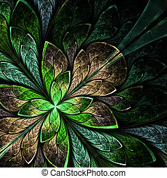 Beautiful fractal flower in green and beige. Computer...