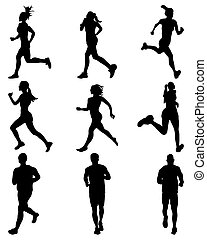runners - Black silhouettes of runners, vector