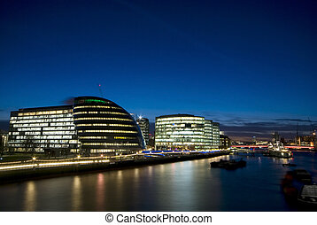 City of London at sunset.(City Hall, River Thames)