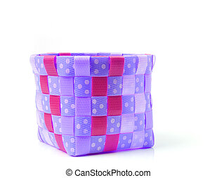 Hand craft plastic basket isolated on white background