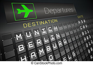 Black departures board for german cities - Digitally...
