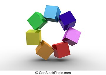 3d colourful cubes in a circle on white background
