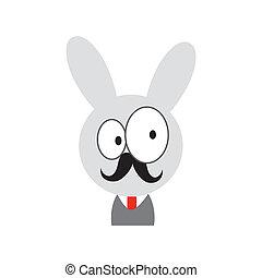 Cute rabbit with  beard