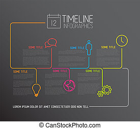 Dark Infographic timeline report template with lines -...