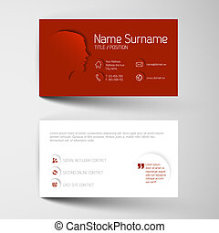 Modern red business card template with flat user interface -...