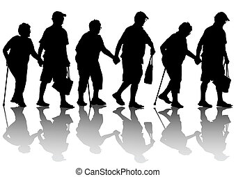 Elderly couples - Two elderly people with cane one white...