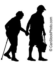 Older people - Two elderly people with cane one white...