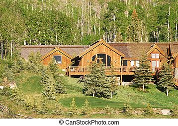 Log cabin - Large log cabin in the aspen trees in the...