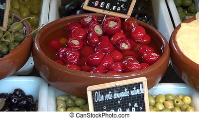 Variety of olives in french market - Variety of olives and...