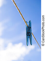Clothes peg on washing line - Clothes peg on the washing...