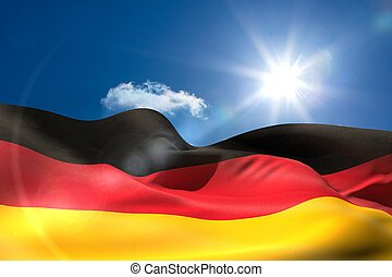 German national flag under sunny sky - Digitally generated...
