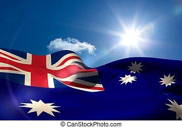 cielo, nacional, soleado, bandera, debajo, australiano