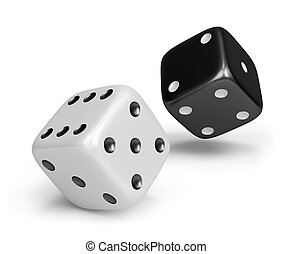 Dice - Black and white dice 3d image White background