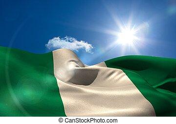 cielo, nacional, soleado, bandera, debajo,  nigeria