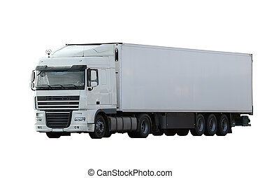 cargo truck isolated on white background (all logos,...