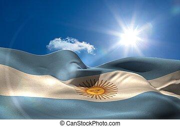 cielo, nacional, soleado, bandera, debajo,  Argentina