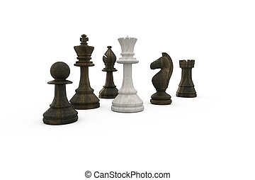White queen surrounded by black pieces on white background
