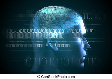Brain interface in blue with binary code - Digitally...