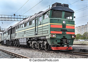 locomotive - Diesel locomotive on a background of clouds...